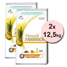 Trainer Fitness3 Adult MEDIUM MAXI, zajec in krompir - 2 x 12,5 kg