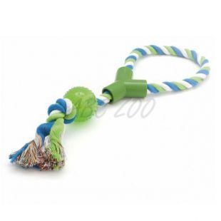 Igrača za psa - ZIBI žoga na vrvi z ročko, 40 cm