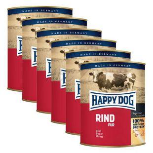 Happy Dog Pur - govedina, 6 x 800 g, 5 + 1 GRATIS