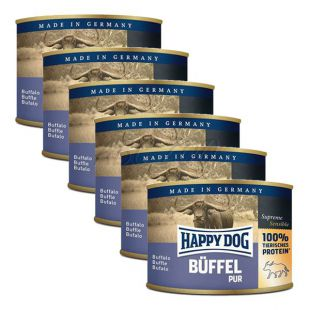 Happy Dog Pur - bivol, 6 x 200 g, 5 + 1 GRATIS