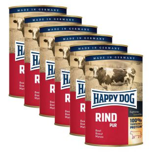 Happy Dog Pur - govedina, 6 x 400 g, 5 + 1 GRATIS