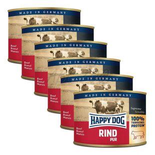 Happy Dog Pur - govedina, 6 x 200 g, 5 + 1 GRATIS