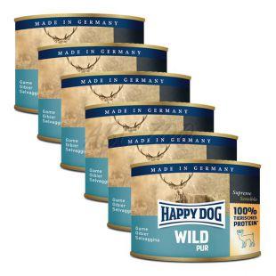 Happy Dog Pur - divjačina, 6 x 200 g, 5 + 1 GRATIS