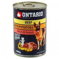 Konzerva ONTARIO z govedino, krompirjem in oljem za pse - 400 g