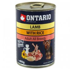 Konzerva ONTARIO z jagnjetino, rižom in oljem za pse - 400 g