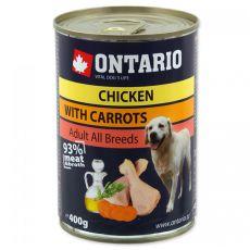 Konzerva ONTARIO s piščancem, korenjem in oljem za pse  - 400 g