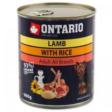 Konzerva ONTARIO z jagnjetino, rižom in oljem za pse - 800 g