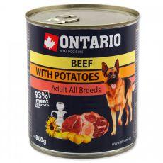 Konzerva ONTARIO z govedino, krompirjem in oljem za pse - 800 g
