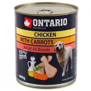 Konzerva ONTARIO s piščancem, korenjem in oljem za pse  - 800 g