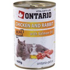 ONTARIO hrana za mačke - piščanec, zajec in olje - 400 g
