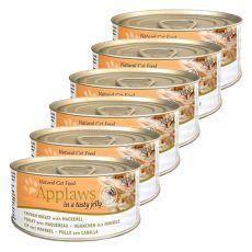 Applaws Cat Jelly - konzerva mačje hrane s piščančjimi prsmi in skušo, 6 x 70 g