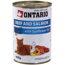 ONTARIO hrana za mačke - govedina, losos in olje - 400 g