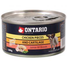 Konzerva ONTARIO Junior za pse s koščki piščanca in hrustancem, 200 g
