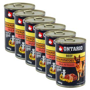 Konzerva ONTARIO z govedino, krompirjem in oljem za pse - 6 x 400 g