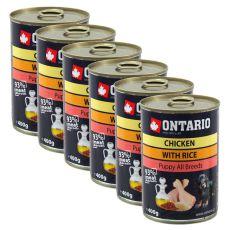 Konzerva ONTARIO Puppy s piščancem, rižem in lanenim oljem - 6 x 400 g