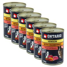 Konzerva ONTARIO z divjačino, brusnicami in oljem za pse - 6 x 400 g