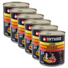 Konzerva ONTARIO z jagnjetino, rižom in sončničnim oljem za pse - 6 x 800 g