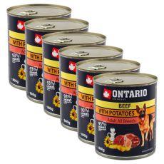 Konzerva ONTARIO z govedino, krompirjem in sončničnim oljem za pse - 6 x 800 g