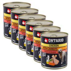 Konzerva ONTARIO s piščancem, korenjem in lososovim oljem za pse  - 6 x 800 g