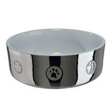Keramična pasja posoda, srebrna - 0,8 L