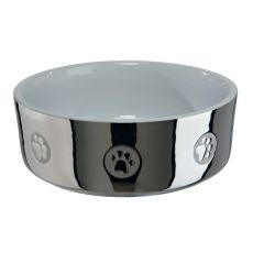 Keramična pasja posoda, srebrna - 0,3 L