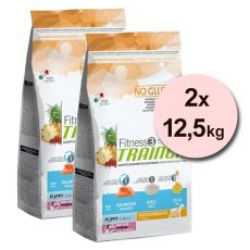 Trainer Fitness3 Puppy & Junior MEDIUM MAXI - riba in riž - 2 x 12,5 kg