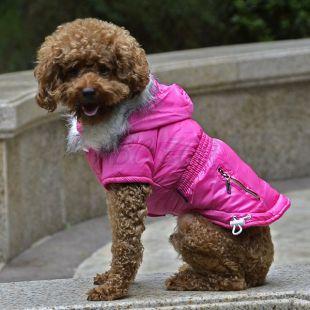 Pasji plašč z zadrgo in okrasnim žepom - roza, L