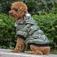 Pasji plašč s črno obrobo - zelen, S