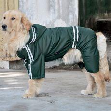 Odsevni dežni plašč za velike pse - temno zelen, 3XL