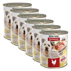 Novo BEWI DOG konzerva – piščanec - 6 x 800 g, 5+1 GRATIS
