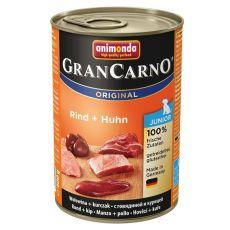 Konzerva pasje hrane GranCarno Original Junior z govedino in piščancem - 400 g