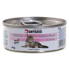 ONTARIO Junior tin - hrana iz koščkov piščančjega mesa in kozic - 95 g