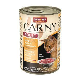 Konzerva mačje hrane CARNY ADULT iz govedine in piščančjih ter puranjih src - 400 g