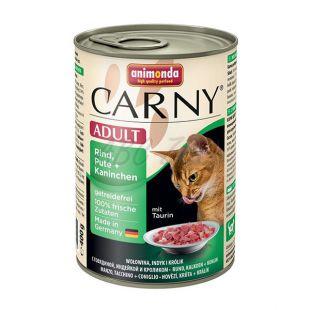 Konzerva mačje hrane CARNY ADULT z govejim, puranjim in zajčjim mesom - 400 g