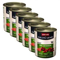 Konzerva pasje hrane GranCarno Original Adult z govedino in račjimi srci - 6 x 800 g