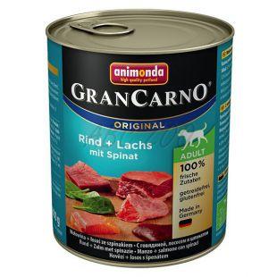 Konzerva GranCarno Original Adult z govedino, lososom in špinačo - 800 g