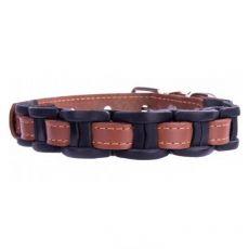 Usnjena pasja ovratnica - 34-40 cm, 20 mm - rjavo-črna