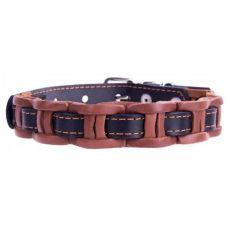 Usnjena pasja ovratnica - 34-40 cm, 20 mm - črno-rjava
