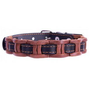 Usnjena pasja ovratnica - 40-50 cm, 25 mm - črno-rjava