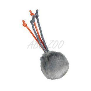 Plišasta mačja igrača z zvončkom in vrvicami - 4 cm