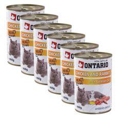 Konzerva mačje hrane ONTARIO - piščančje in zajčje meso ter olje - 6 x 400 g