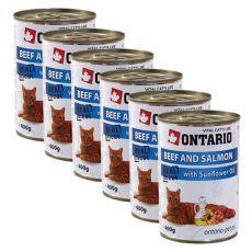 ONTARIO hrana za mačke - govedina, losos in olje - 6 x 400g