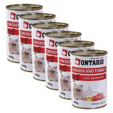 ONTARIO hrana za mačke - piščanec, puran in olje - 6 x 400g