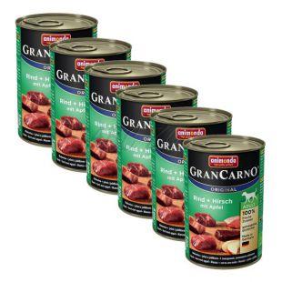 Konzerva GranCarno Original Adult z govejim in jelenjim mesom ter jabolkami - 6 x 400 g