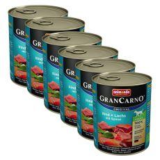 Konzerva GranCarno Original Adult z govedino, lososom in špinačo - 6 x 800 g