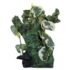 Akvarijska dekoracija 2157 - zelena skala z rastlinami