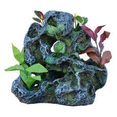 Akvarijska dekoracija 2159 - zelena skala z rastlinami