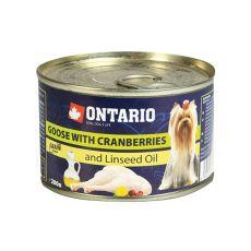Konzerva pasje hrane ONTARIO z gosjim mesom, brusnicami in lanenim oljem – 200 g