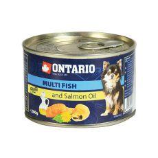 Konzerva pasje hrane ONTARIO z ribami in lososovim oljem – 200 g