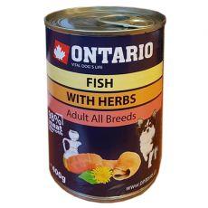 Konzerva pasje hrane ONTARIO z ribami in lososovim oljem – 400 g